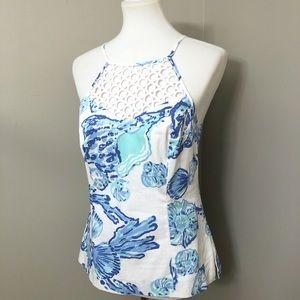 Lilly Pulitzer White/blue seashell print tank.